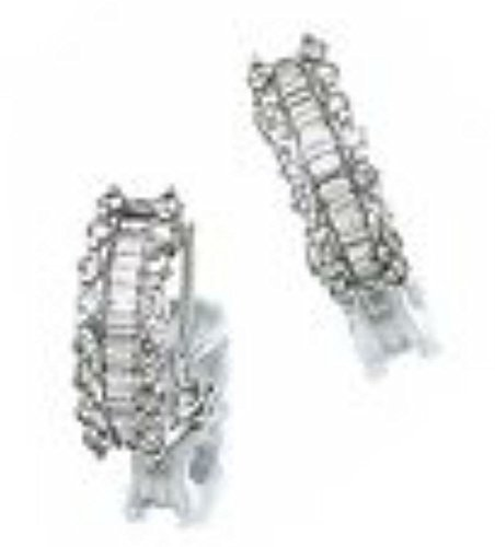 Baguette & Round Diamond Earrings 14K White Gold Omega Back