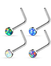 UNUStyle 4 Pcs Stainless Steel Value Pack of Assorted Clear CZ Nose Ring