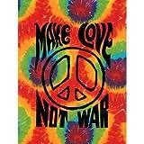 Make Love Not War Tye Dye / Tie Dye Wall Hanging Tapestry 40'' X 45''