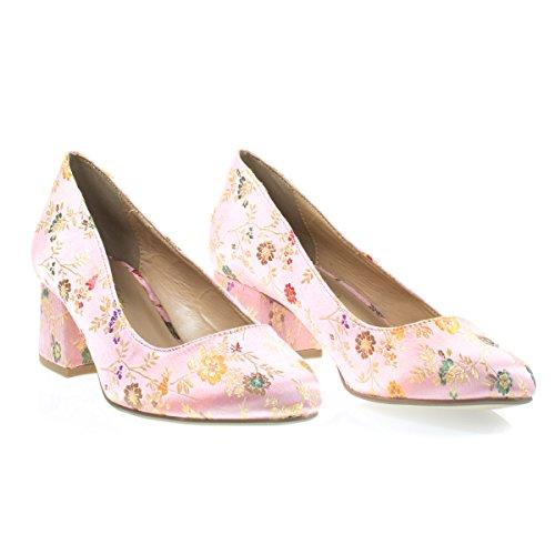 Heel Pump Stitch w Dress Pink Low Sakura Toe City Classified Embroidery Sakura Round Block Floral B0Z4wq