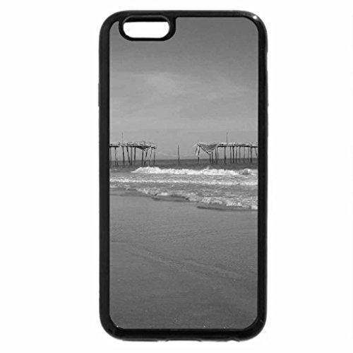 iPhone 6S Plus Case, iPhone 6 Plus Case (Black & White) - Large Beach Wave