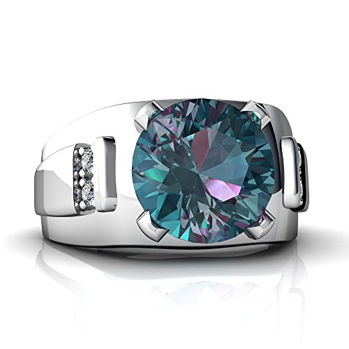 Alexandrite Round Ring - 14kt White Gold Lab Alexandrite and Diamond 9mm Round Men's Ring - Size 9