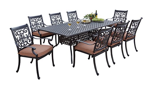 Darlee 9 Piece St. Cruz Cast Aluminum Dining Set with Spicy Chili Cushions and 42'' x 84'' Rectangular Dining Table, Antique Bronze Finish (Table 84' Finish Dining)
