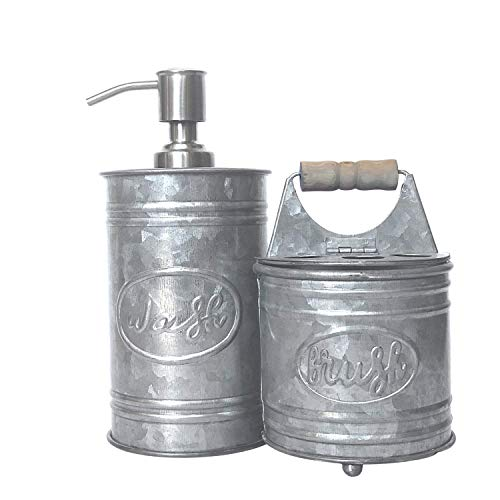 Autumn Alley Galvanized Bathroom Accessories Set – Includes Farmhouse Hand Soap Dispenser and Rustic Toothbrush Holder…