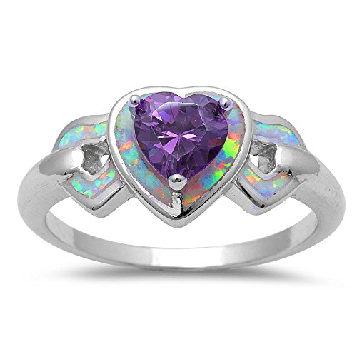 Lab Created White Opal & Simulated Amethyst Heart .925 Sterling Silver Ring Size 7 (Diamond Created Opal Heart Ring)