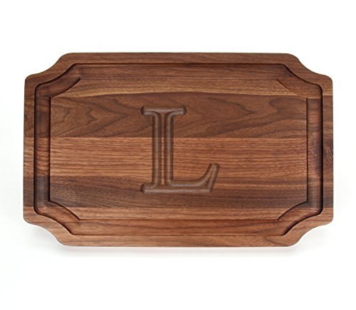 BigWood Boards W320-L Carving Board, Carving Board with Juice Well, Large Personalized Cutting Board with Juice Groove, Walnut Serving Platter, ''L'' by BigWood Boards