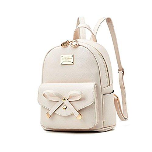 Bow Mini Purse - Women Fashion Bowknot Cute Leather Backpack Mini Backpack Purse for Girls Beige