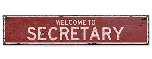 Welcome to Secretary Vintage US Secretary, Maryland Distressed Custom Wooden City Sign Home Craft Plaque Sign Housewarming Gift