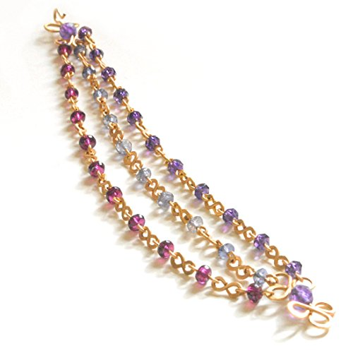 Rhodolite Bracelet Amethyst (Eternity Bracelet with Amethyst, Garnet, and Iolite, Artisan Crafted in 14K Gold Filled)