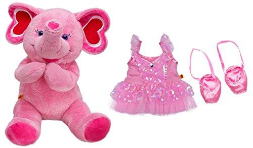 Build a Bear Pink Fuchsia Hearts Ballerina Elephant 17in. Stuffed Plush Toy Animal