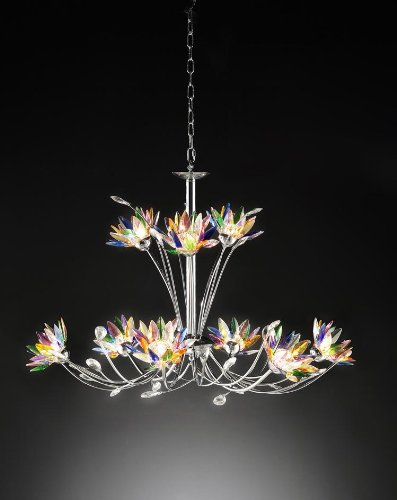 OK LIGHTING OK-5115-H2 Floral Crystal Chandelier, 35