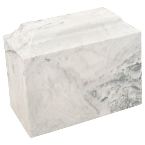 Faux Marble Urn - Silverlight Urns Carrera Niche Cultured Marble Urn by Mackenzie Vault, White Faux Marble Cremation Urn, 7.75 Inches High