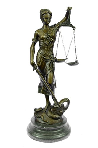 Handmade European Bronze Sculpture Blind Lady of Justice Scales Law Lawyer Attorney Office Bronze Statue -YDZ-009-Decor Collectible Gift