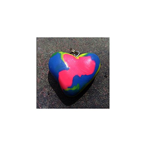 (Polymer Multi-Color Swirl Heart Necklace)