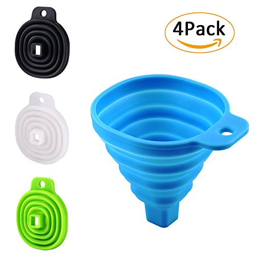 Icicle Funnel Collapsible Set of 4, Foldable Funnel for Liquid Transfer 100% Food Grade Silicone (Blue & Green)