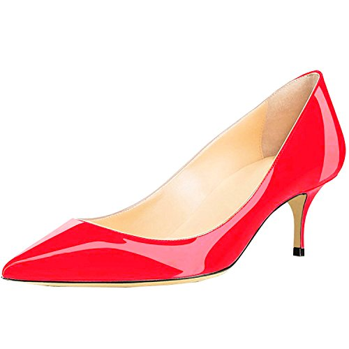 Leather 6 Patent Heels Kitten on Red Shoes Lovirs Pointed Pumps Womens 5CM Slip Office Toe qwffBp