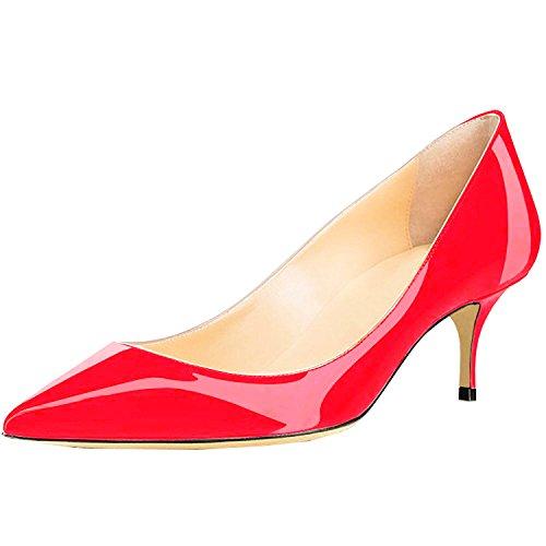 Lovirs Ufficio Da Donna Slip On Pumps In Vernice Martellata Tacchi A Punta Scarpe 6,5 Cm Rosso