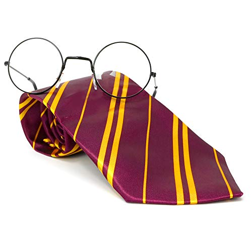 Skeleteen Wizard Glasses and Tie - Maroon and Gold Dress Up Tie and Black Round Glasses Set - 1 Pair