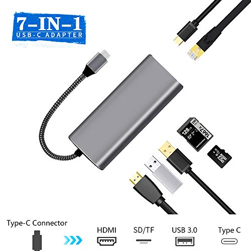 USB C Hub Adapter, 7 in 1 Multiport Type C Hub Aluminum Dongle with PD Power Delivery, Ethernet Port, 4K HDMI Output, 2 USB 3.0 Ports, SD/TF Card Reader, Portable for MacBook and More Devices, KULED from KULED