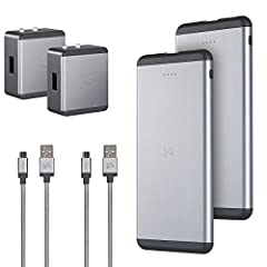 Ubio Labs 6000mAh Power Bank 2-pack includes; 2-6,000 Mah portable batteries, 2-2.4 Amp wall chargers, 2-3 foot micro USB cables. Bank has a 2.4 amp high speed output, LED charge indicator and is made from strong aluminum. Wall charger works ...