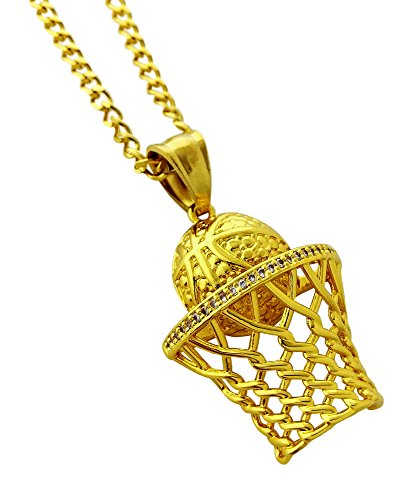 Basketball Hoop Pendant Necklace - Premium 316L Stainless Steel in 18k Gold Finish by Exo Jewel