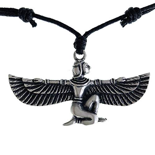 Ohdeal4U ISIS Egyptian Goddess Pagan Amulet Charm Silver Pewter Amulet Pendant Necklace (Black Adjustable Cord)