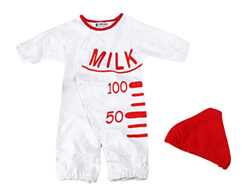AvaCostume Babys Milk Bottle Style Romper Clothes Climb, Long (Baby Milk Bottle Costume)