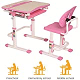 PrimeCables® Ergo Height Adjustable Children's Desk and Chair Set with Upgraded Winged Backrest Chair and Tiltable Desktop for Study, Drawing/Free Cup Holder for This Study Table (Pink)