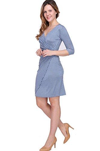in France Made Femme pliss robe Myriam Ciel manches Bleu pois 3 pour 4 Revdelle EqUn5FE