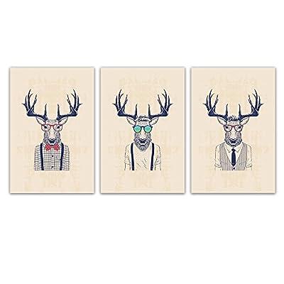 Original Creation, Majestic Artisanship, 3 Panel Animal Mr Elk with Giant Antler x 3 Panels