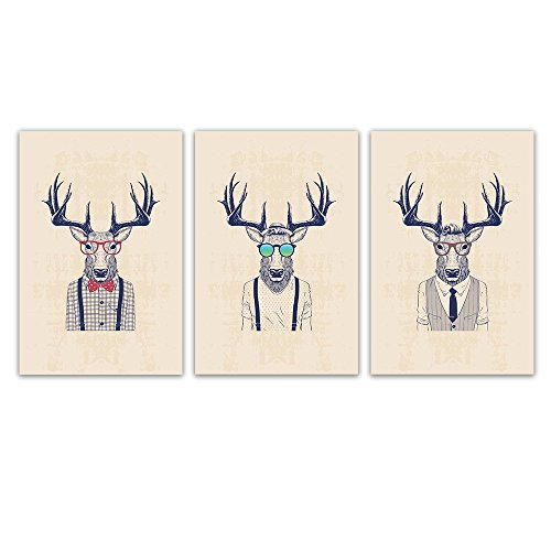 wall26 3 Panel Animal Canvas Wall Art - Mr Elk with Giant Antler - Giclee Print Gallery Wrap Modern Home Decor Ready to Hang - 16