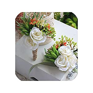 Boutonniere Groomsman Wedding Corsages and Boutonnieres for Guests Artificial Flowers Silk Rose Faux Succulents Brooch 71