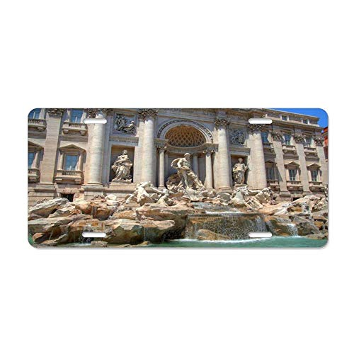 Kingsinoutdoor Trevi Fountain in Rome Custom Aluminum Metal License Plate Tag for Auto Cars, Car Tag Sign for Women/Men, 12 x 6 Inch