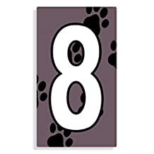 Dog - Cat Paw Prints With Brown Number 8 Sticker For House Number / Mailbox / Trash Can / Wheelie Bin - Self Adhesive - Choose Number