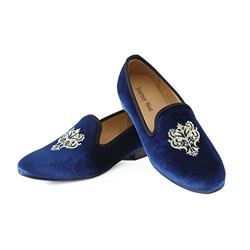 Terciopelo Hombres Azul Zapatos de Los Bordado Negro Mocasines Azul Junco Rojo IFOxwwATpq