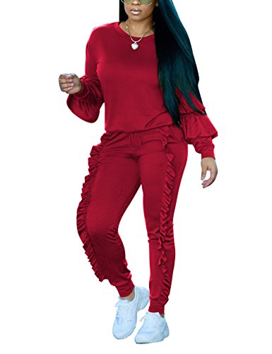 Ruff Long Sleeve Crewneck Sweatshirt Top and Side Ruffle Joggers Pants Sweatsuit Set for Women Red XL