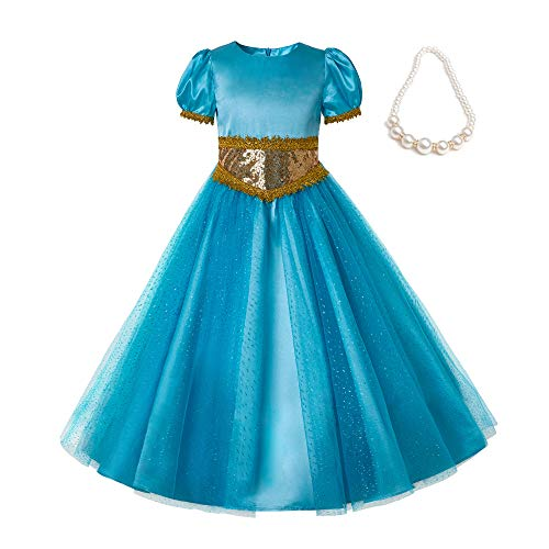 Pettigirl Girls Sequin Princess Costume Dress up with Necklace ()