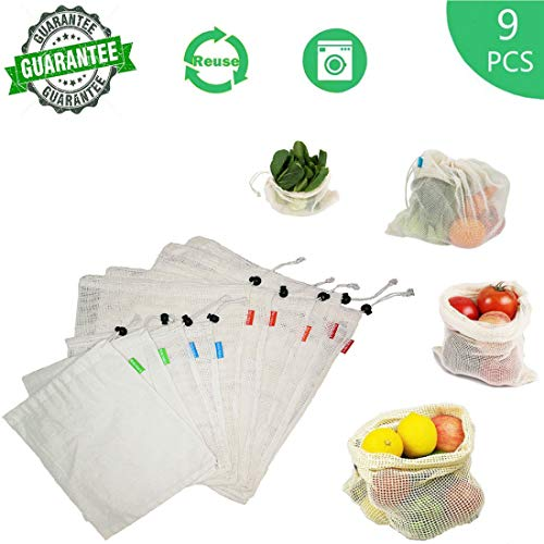 Eco Friendly Natural (Eco-Friendly Reusable Produce Bags 7pcs Premium Organic Natural Cotton Mesh Bags for Grocery Shopping and 2pcs Organic Muslin Cotton Drawstring Set - 9pcs - (4 M, 3 L, 2 XL) - Tare Weight on Label)