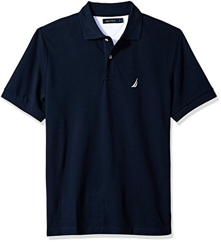 Nautica Men's Short Sleeve Solid Cotton Pique Polo Shirt, Navy, ()