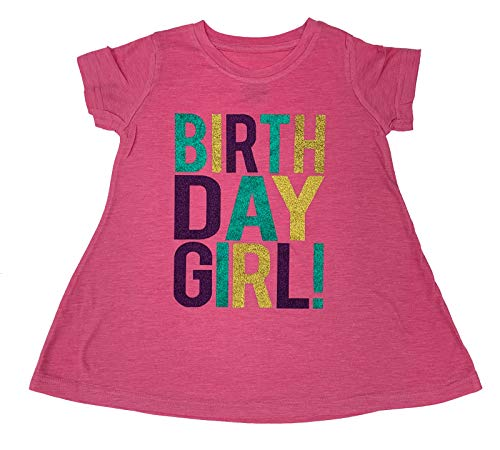 SoRock Birthday Girl T-Shirt Dress Toddler Kids Glitter (Pink T-Shirt Dress, 3T)]()