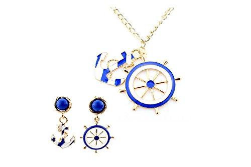 [Darkey Wang Women's Navy Wind Anchor Long Necklace Earring Sets] (Gumdrop Costume Ideas)