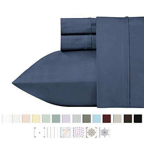- California Design Den 400 Thread Count 100% Cotton Sheet Set, Indigo Batik Queen Size Sheets 4 Piece Set, Long-Staple Combed Pure Natural Cotton Best Bed Sheets for Bed, Soft & Silky Sateen Weave
