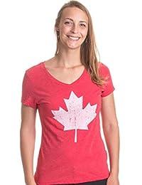 Canada Pride   Vintage Style, Retro Canadian Maple Leaf Women's V-neck T-shirt