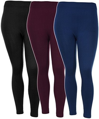 Crush Womens Plus Size Fleece Lined Fall & Winter Textured Leggings in 3 Great Colors (2X/3X, 29642 Burgundy)