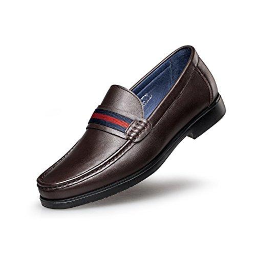 ZRO Men's Genuine Leather Fashion Penny Slip-On Loafer Lightweight BROWN US 9.5
