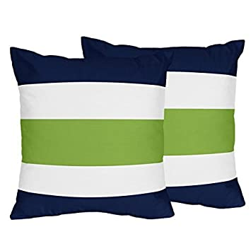 Sweet Jojo Designs 2 Piece Navy Blue Lime Green And White Decorative Accent Throw Pillows