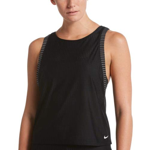 ad7552752 Nike Swim Women's Sport Mesh Convertible Layered Tankini Top Black ...