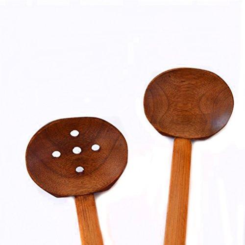 SHENGZ Wooden Soup Spoon Ramen Ladle Hot Pot Ladle Spoon Strainer Kitchen Tools 2 Set by SHENGZ