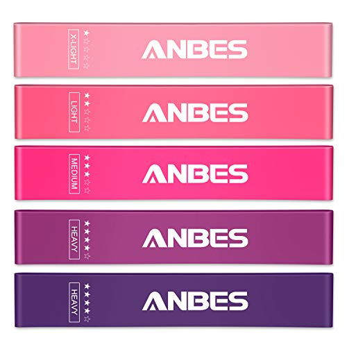 ANBES Resistance Bands, Exercise Loop Bands, 12-inch Workout Stretch Bands for Legs and Butt, Physical Therapy, Elastic, Strength, Home Workout, Yoga & Pilates with Carry Bag, Set of 5