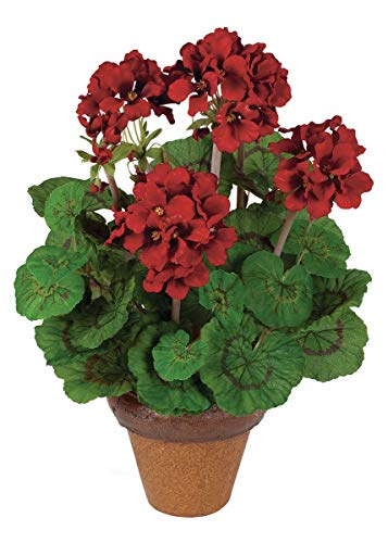 "Indoor/Outdoor Red Silk Geranium Potted Plant - 16"" Tall"